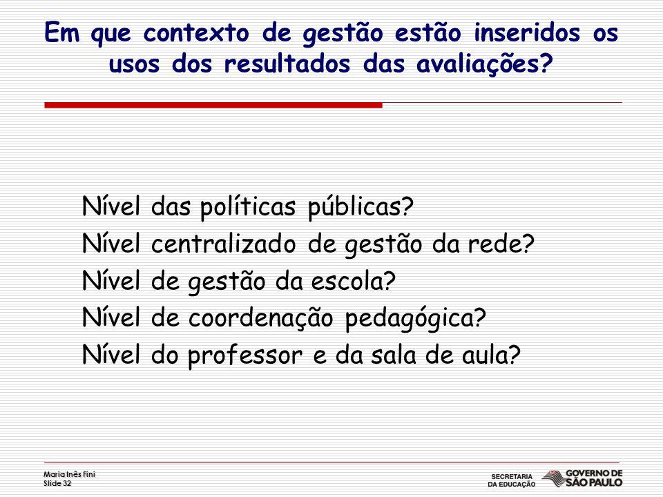 Maria Inês Fini Slide 32 Nível das políticas públicas? Nível centralizado de gestão da rede? Nível de gestão da escola? Nível de coordenação pedagógic