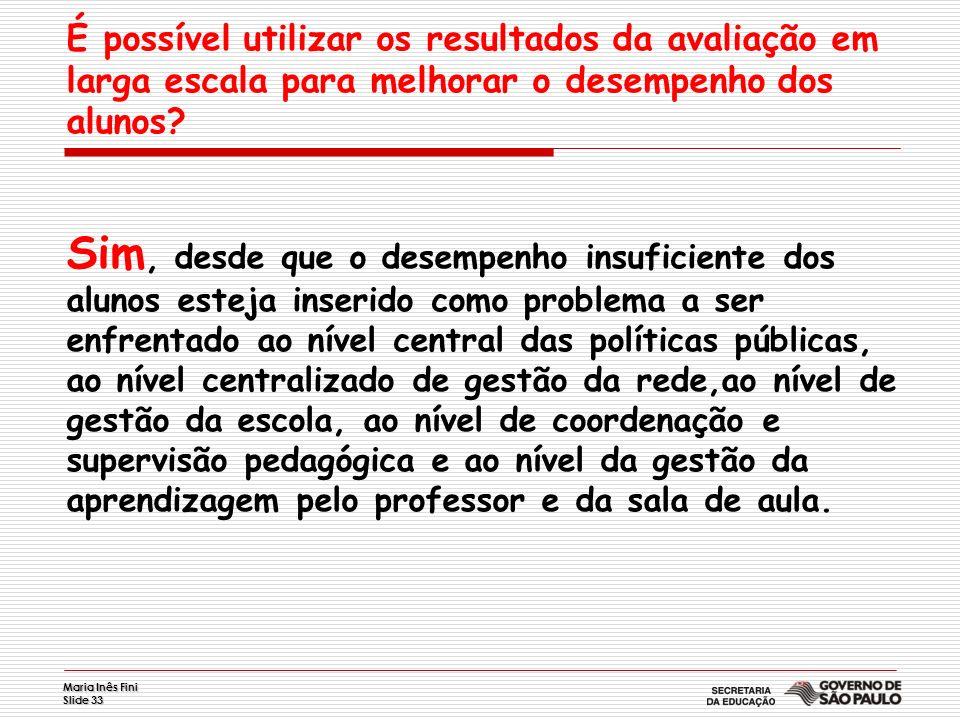 Maria Inês Fini Slide 33 É possível utilizar os resultados da avaliação em larga escala para melhorar o desempenho dos alunos? Sim, desde que o desemp
