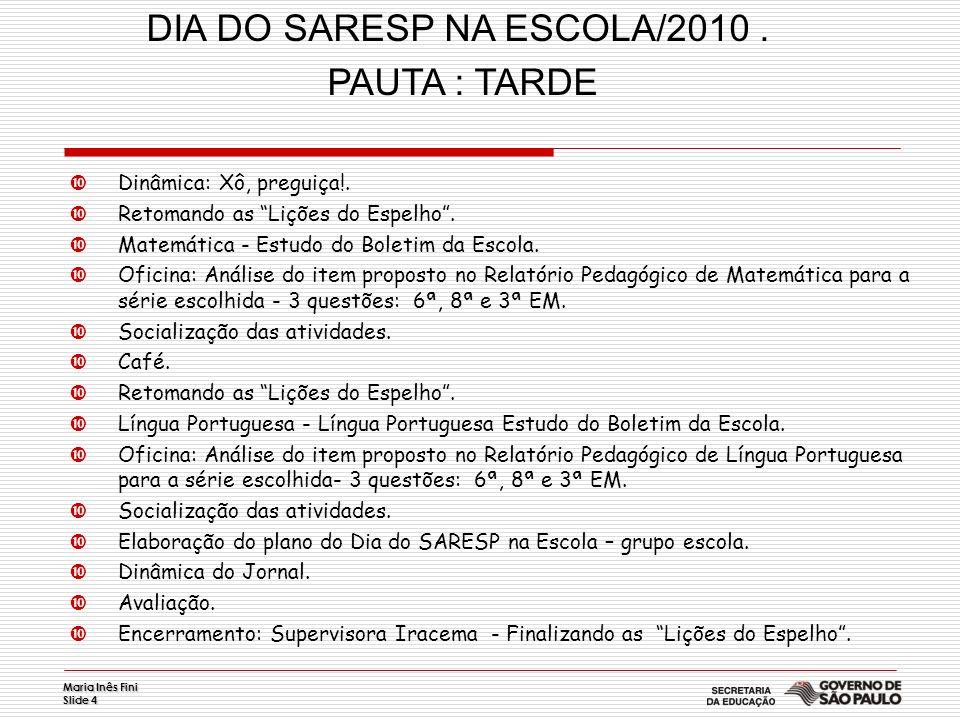 Maria Inês Fini Slide 5 Dia do SARESP na Escola Momento de reflexão inicial sobre os resultados do SARESP 2009.