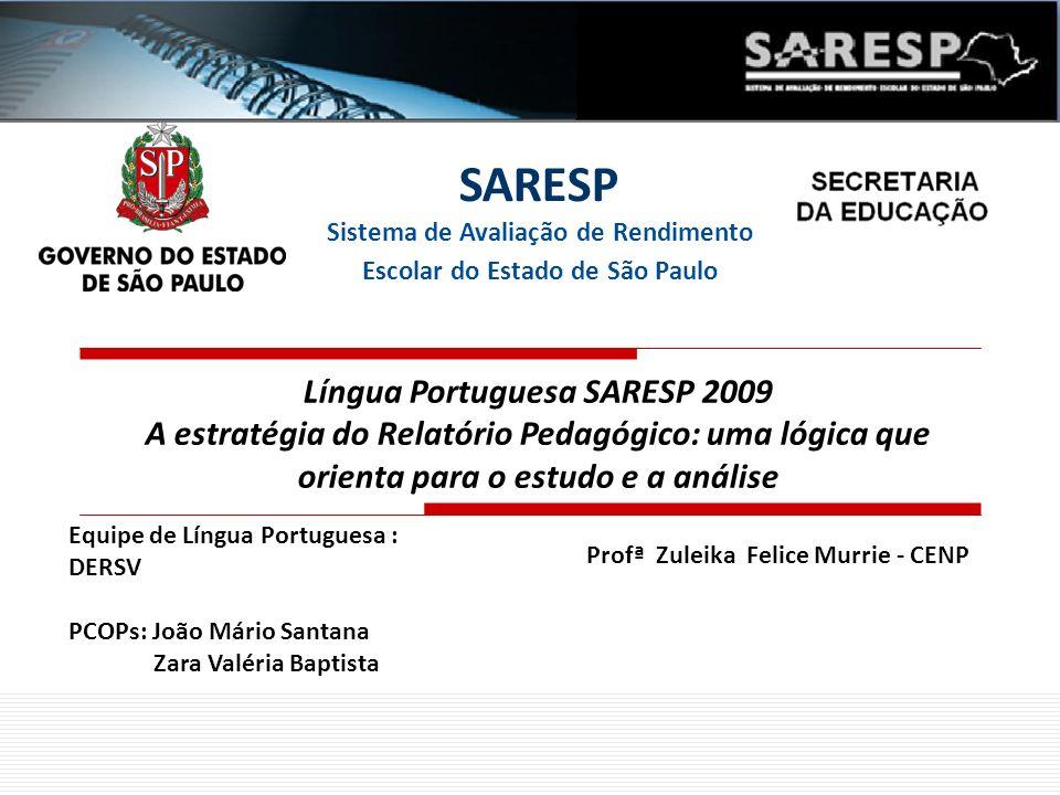 Profª Zuleika Felice Murrie - CENP SARESP Sistema de Avaliação de Rendimento Escolar do Estado de São Paulo Língua Portuguesa SARESP 2009 A estratégia