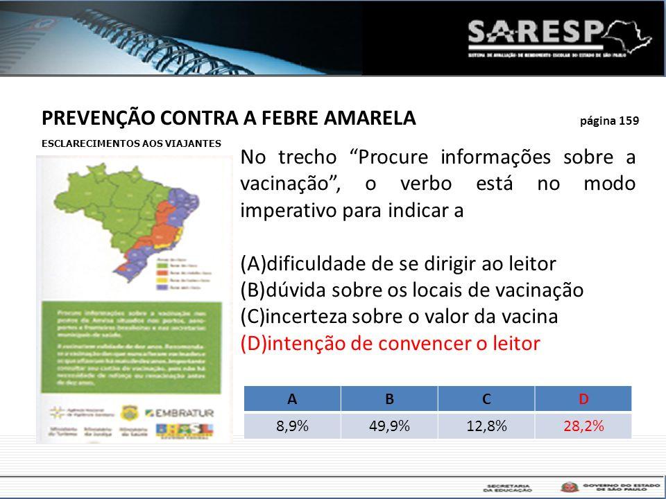 PREVENÇÃO CONTRA A FEBRE AMARELA página 159 No trecho Procure informações sobre a vacinação, o verbo está no modo imperativo para indicar a (A)dificul