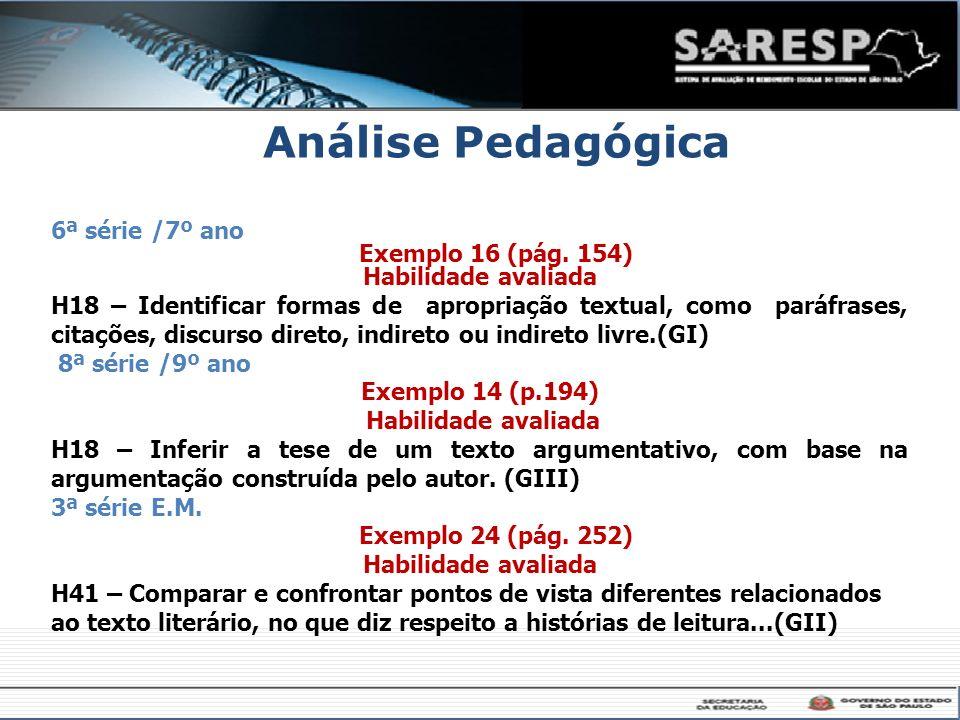 Análise Pedagógica 6ª série /7º ano Exemplo 16 (pág. 154) Habilidade avaliada H18 – Identificar formas de apropriação textual, como paráfrases, citaçõ