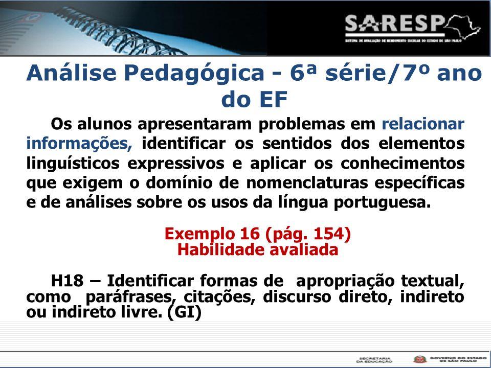 Análise Pedagógica - 6ª série/7º ano do EF Os alunos apresentaram problemas em relacionar informações, identificar os sentidos dos elementos linguísti