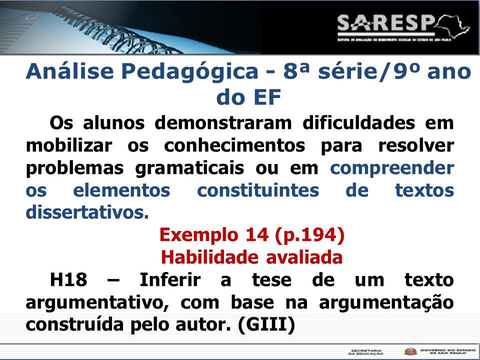 Análise Pedagógica - 8ª série/9º ano do EF Os alunos demonstraram dificuldades em mobilizar os conhecimentos para resolver problemas gramaticais ou em
