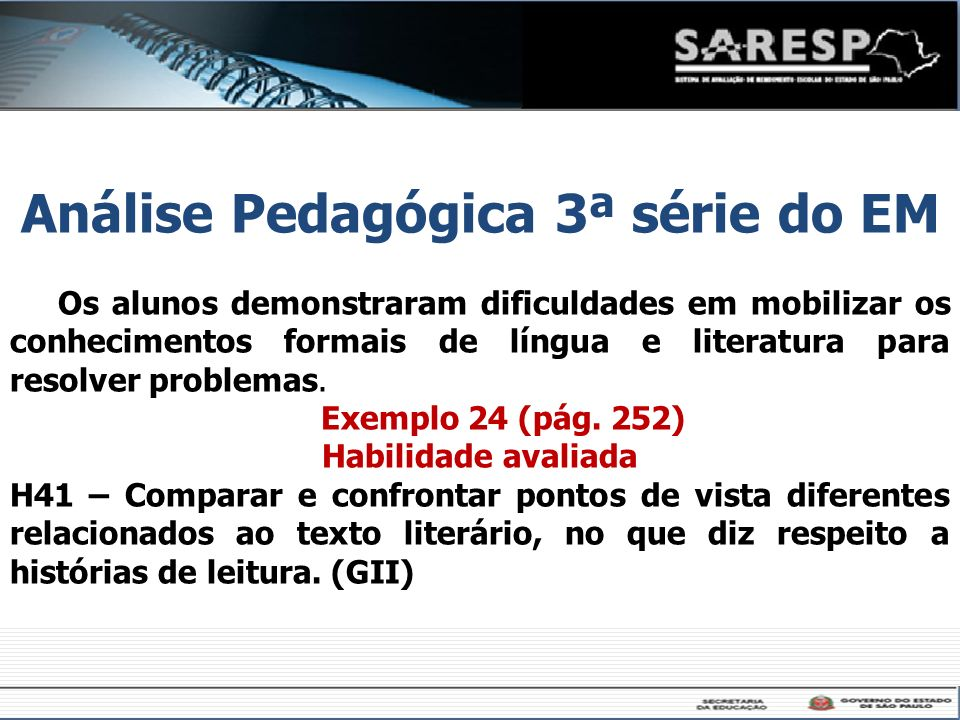 Os alunos demonstraram dificuldades em mobilizar os conhecimentos formais de língua e literatura para resolver problemas. Exemplo 24 (pág. 252) Habili