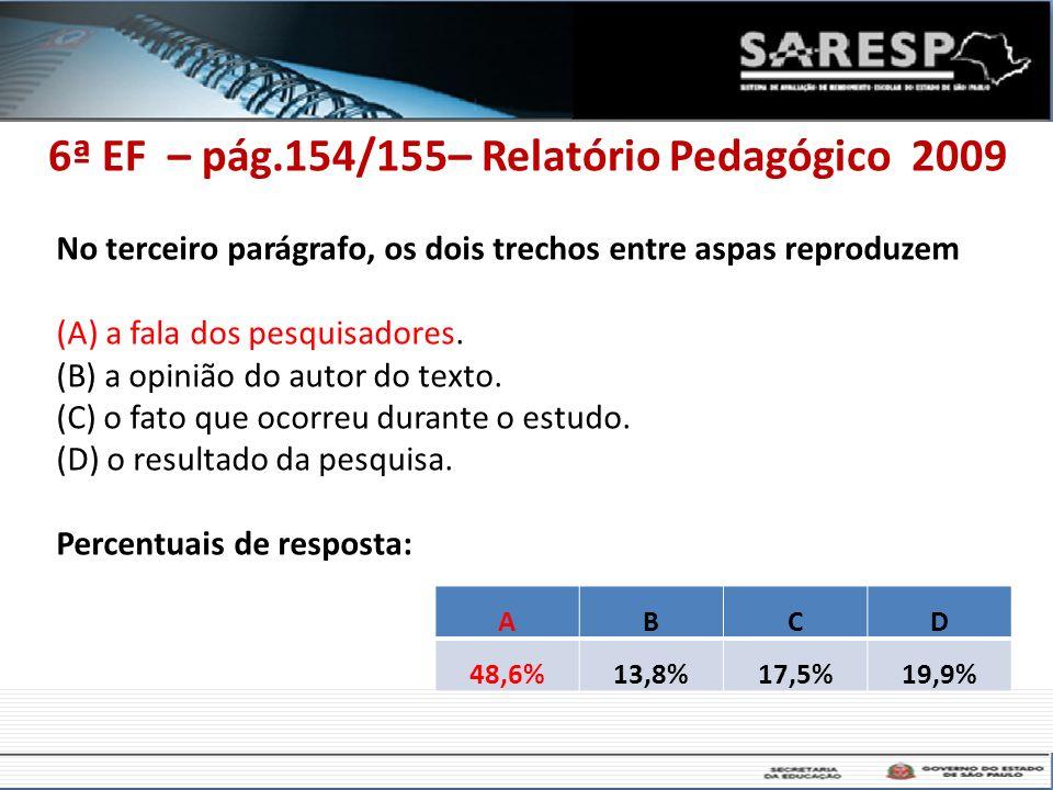 6ª EF – pág.154/155– Relatório Pedagógico 2009 No terceiro parágrafo, os dois trechos entre aspas reproduzem (A) a fala dos pesquisadores. (B) a opini