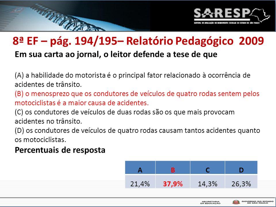 8ª EF – pág. 194/195– Relatório Pedagógico 2009 Em sua carta ao jornal, o leitor defende a tese de que (A) a habilidade do motorista é o principal fat