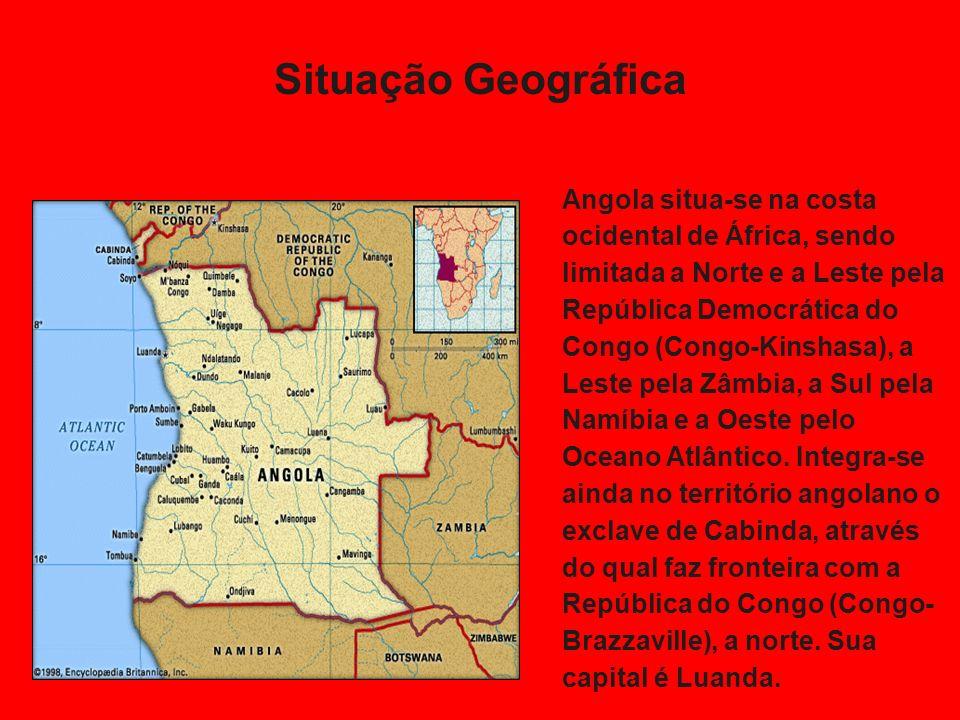 Situação Geográfica Angola situa-se na costa ocidental de África, sendo limitada a Norte e a Leste pela República Democrática do Congo (Congo-Kinshasa), a Leste pela Zâmbia, a Sul pela Namíbia e a Oeste pelo Oceano Atlântico.