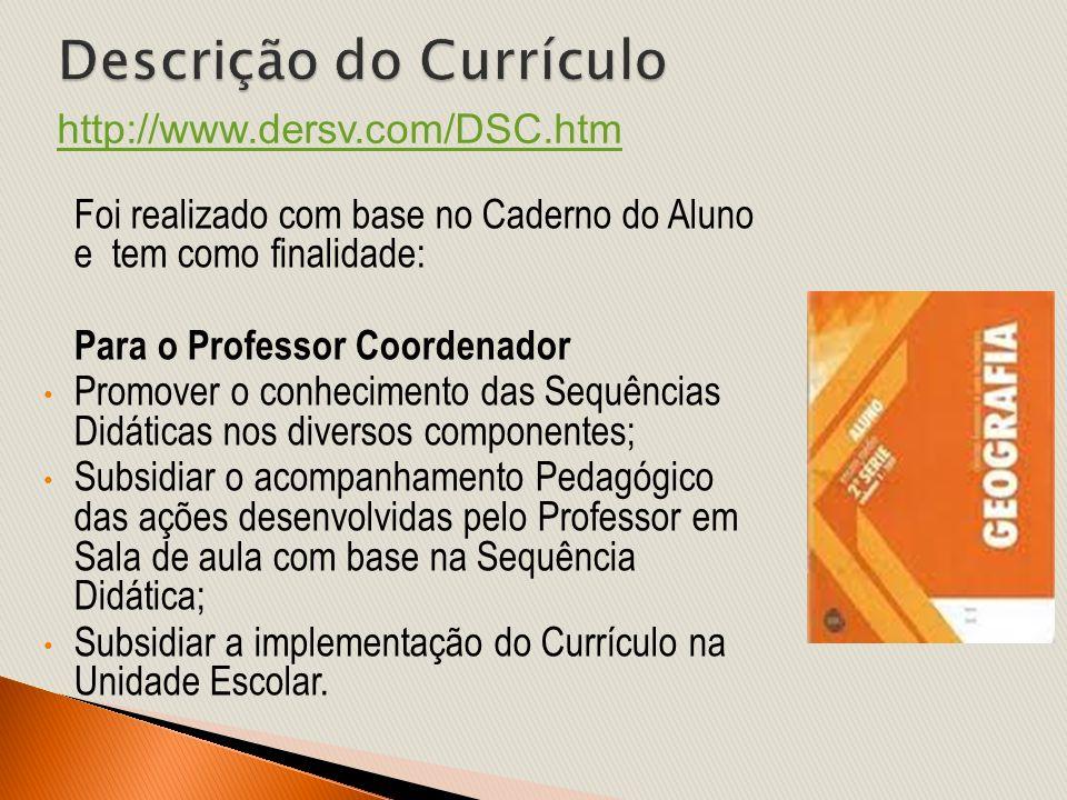 Foi realizado com base no Caderno do Aluno e tem como finalidade: Para o Professor Coordenador Promover o conhecimento das Sequências Didáticas nos di