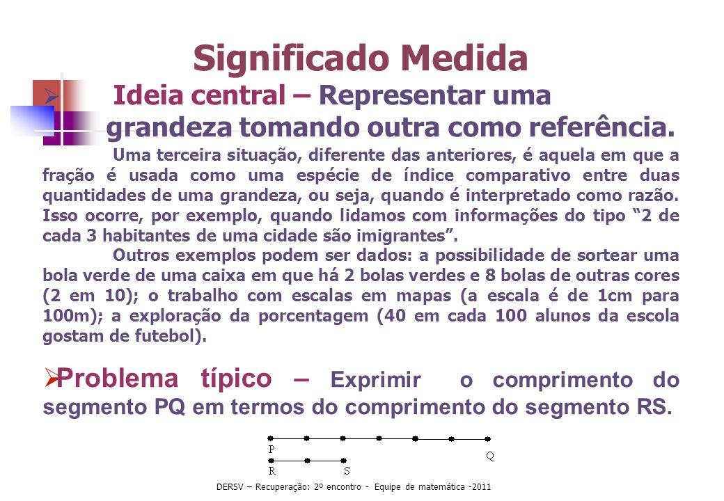 Significado Medida Ideia central – Representar uma grandeza tomando outra como referência. Uma terceira situação, diferente das anteriores, é aquela e