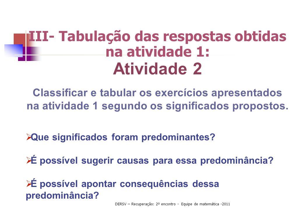 III- Tabulação das respostas obtidas na atividade 1: Atividade 2 Classificar e tabular os exercícios apresentados na atividade 1 segundo os significad