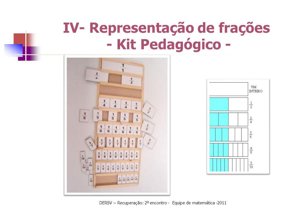 IV- Representação de frações - Kit Pedagógico - DERSV – Recuperação: 2º encontro - Equipe de matemática -2011