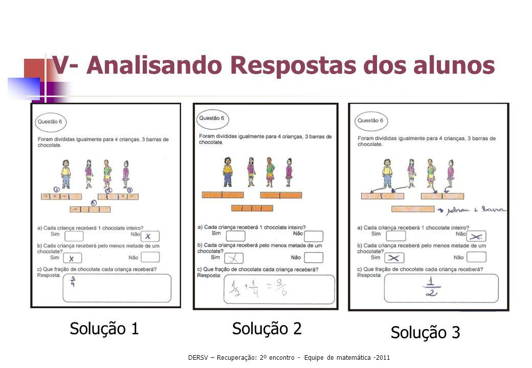 Solução 1Solução 2 Solução 3 V- Analisando Respostas dos alunos