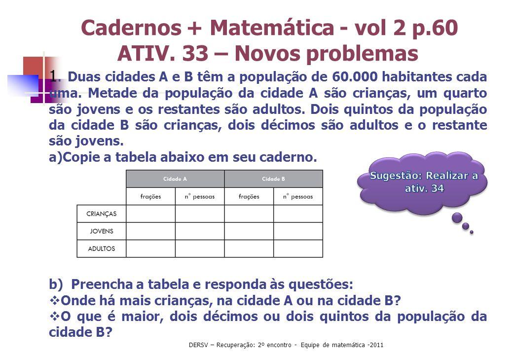 Cadernos + Matemática - vol 2 p.60 ATIV. 33 – Novos problemas 1. Duas cidades A e B têm a população de 60.000 habitantes cada uma. Metade da população