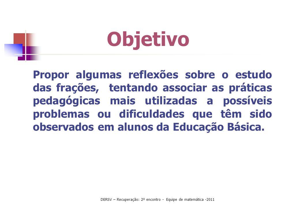 Significados das frações Nunes(2005), PCN e Currículo- SP Parte-todo Quociente Medida Operador DERSV – Recuperação: 2º encontro - Equipe de matemática -2011