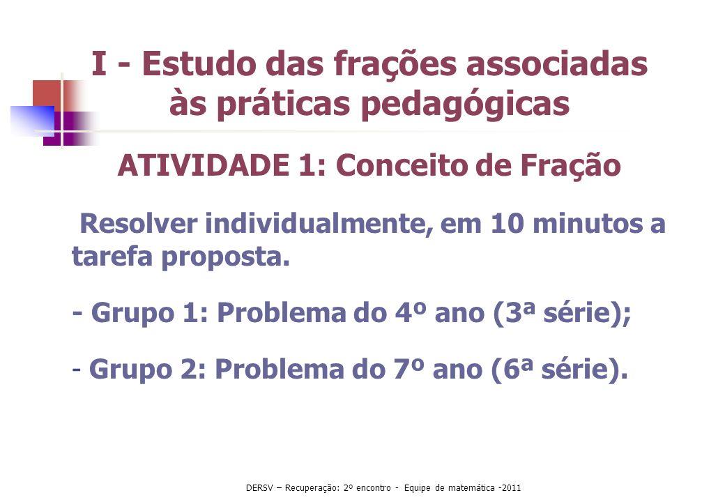 II- Importância do estudo das frações - Behr (1993) Perspectiva prática Perspectiva psicológica Perspectiva matemática DERSV – Recuperação: 2º encontro - Equipe de matemática -2011