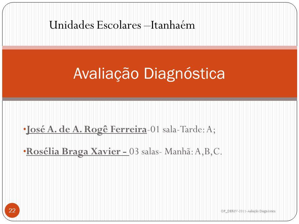 José A. de A. Rogê Ferreira-01 sala-Tarde: A; Rosélia Braga Xavier - 03 salas- Manhã: A,B,C. Avaliação Diagnóstica OP_DERSV-2011-Aaliação Diagnóstica