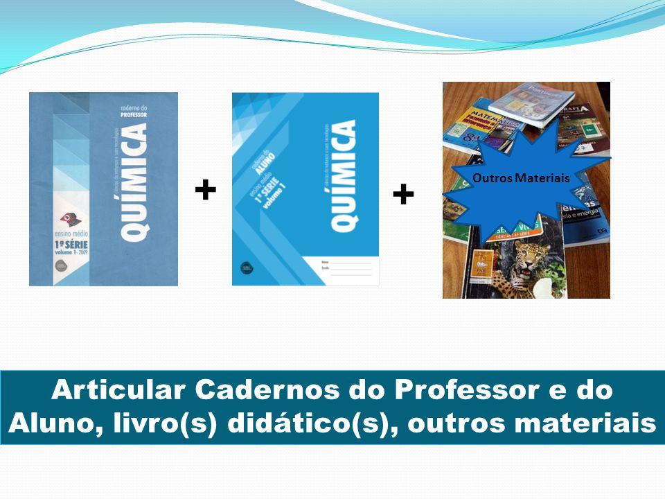 Articular Cadernos do Professor e do Aluno, livro(s) didático(s), outros materiais + + Outros Materiais