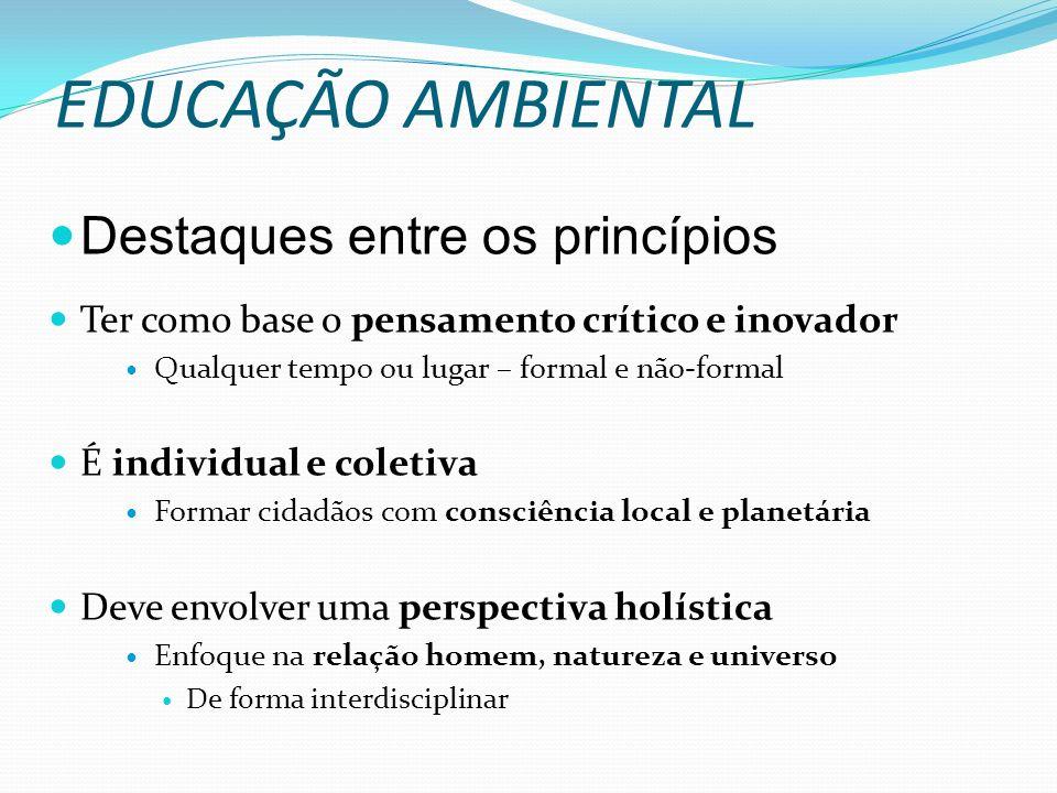 EDUCAÇÃO AMBIENTAL Destaques entre os princípios Ter como base o pensamento crítico e inovador Qualquer tempo ou lugar – formal e não-formal É individ