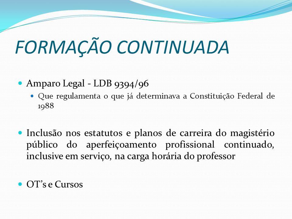 FORMAÇÃO CONTINUADA Amparo Legal - LDB 9394/96 Que regulamenta o que já determinava a Constituição Federal de 1988 Inclusão nos estatutos e planos de