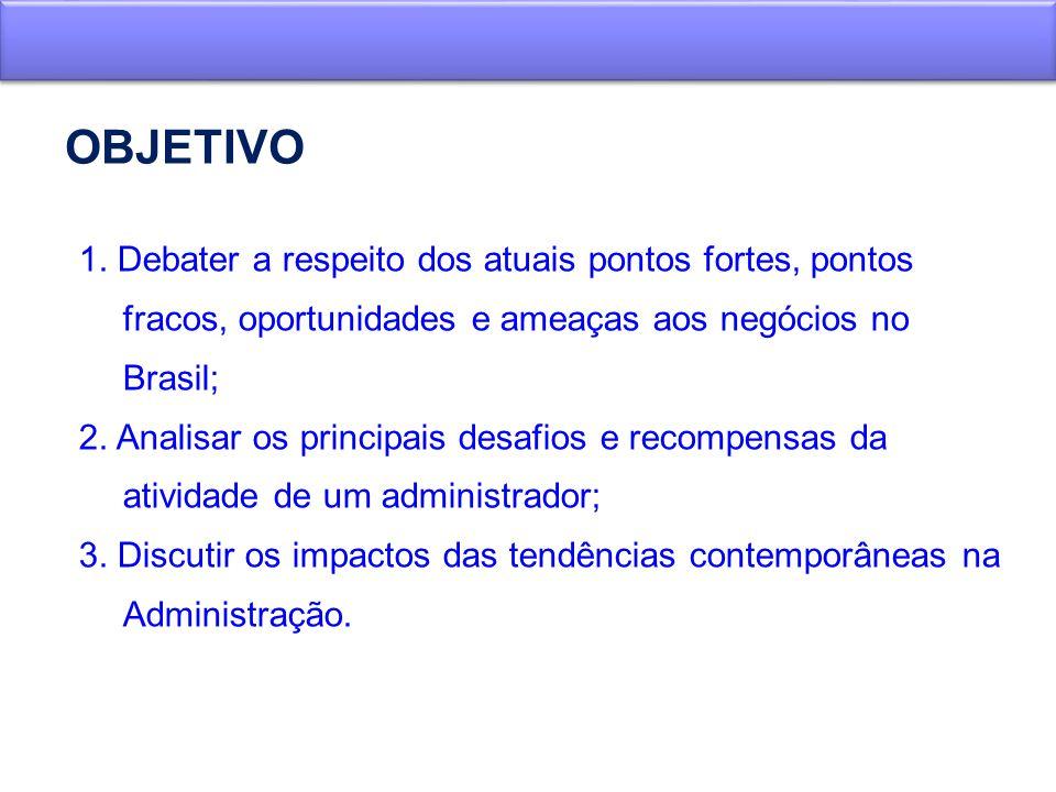 OBJETIVO 1. Debater a respeito dos atuais pontos fortes, pontos fracos, oportunidades e ameaças aos negócios no Brasil; 2. Analisar os principais desa