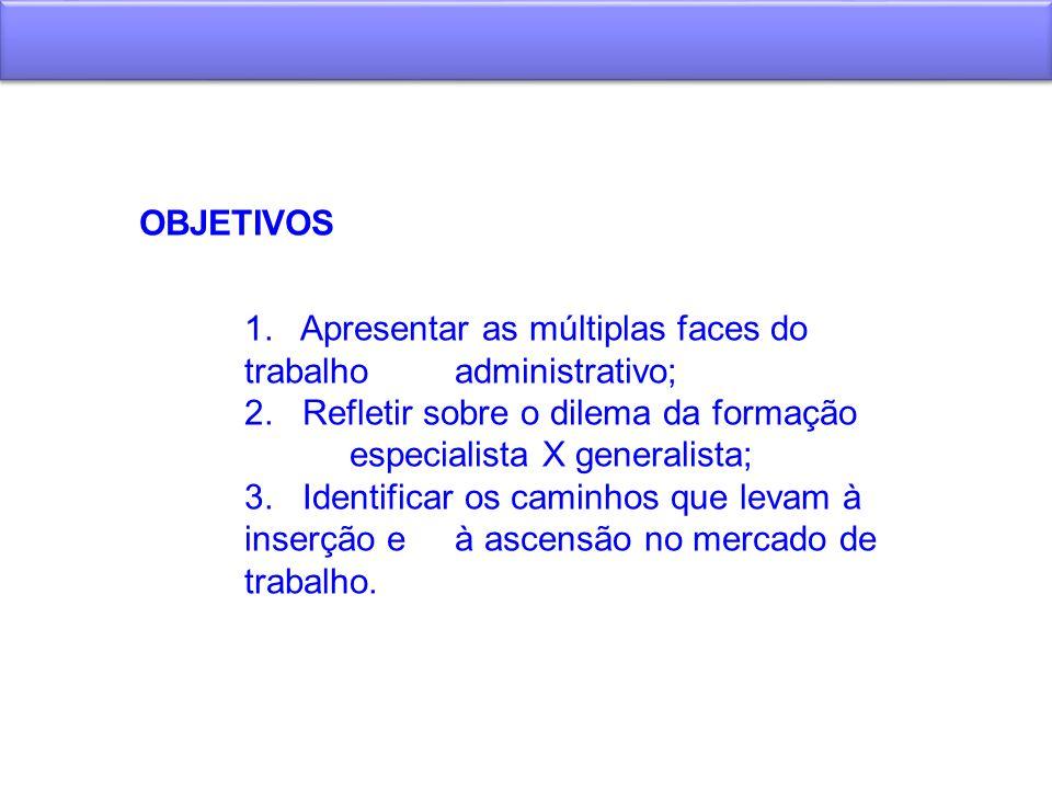 OBJETIVOS 1. Apresentar as múltiplas faces do trabalho administrativo; 2. Refletir sobre o dilema da formação especialista X generalista; 3. Identific