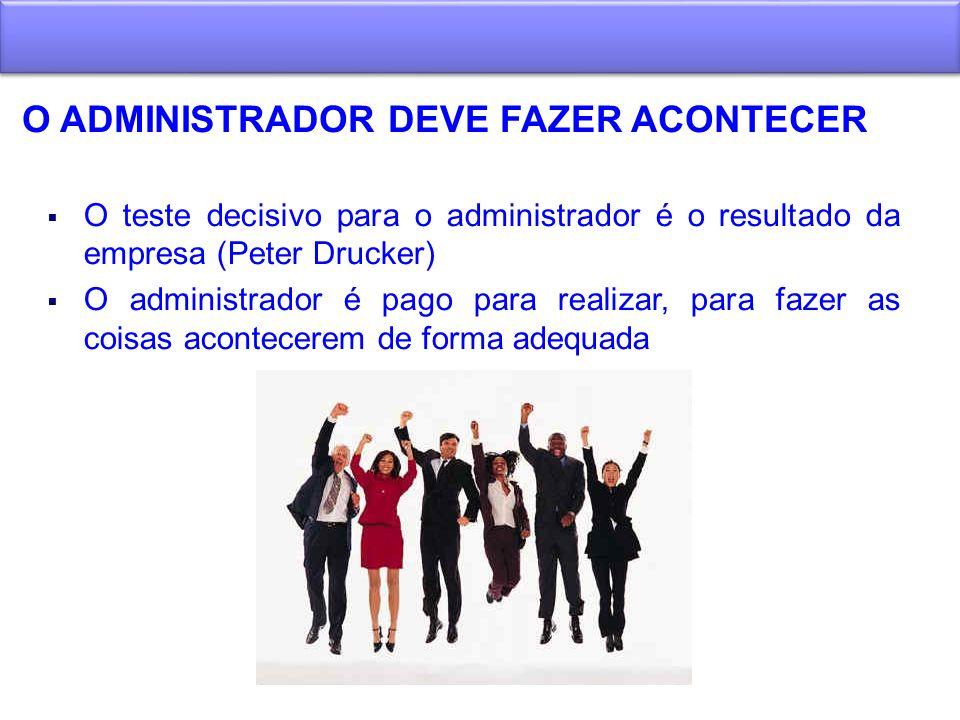 O ADMINISTRADOR DEVE FAZER ACONTECER O teste decisivo para o administrador é o resultado da empresa (Peter Drucker) O administrador é pago para realiz