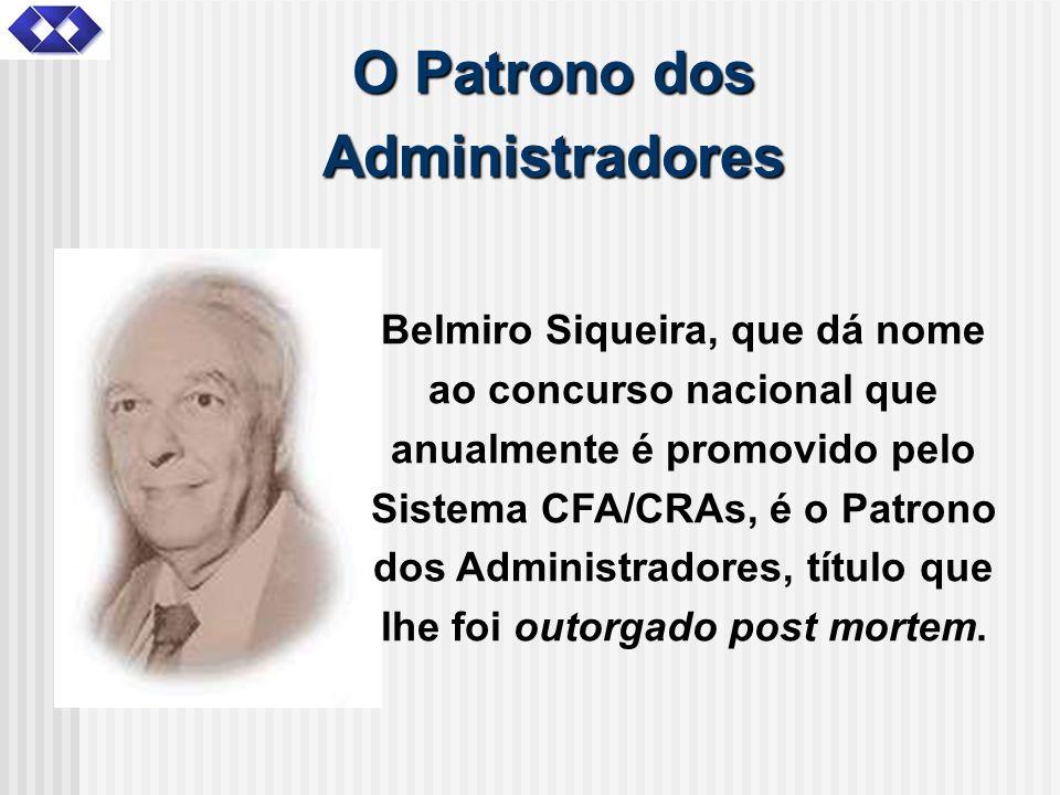 O Patrono dos Administradores Belmiro Siqueira, que dá nome ao concurso nacional que anualmente é promovido pelo Sistema CFA/CRAs, é o Patrono dos Adm