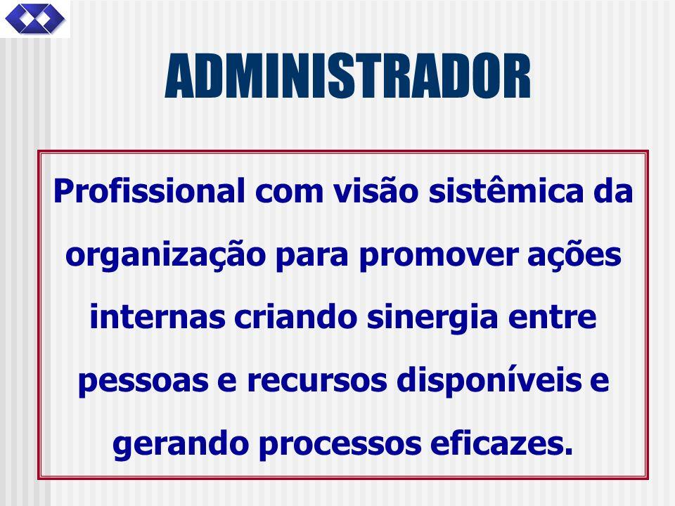 ADMINISTRADOR Profissional com visão sistêmica da organização para promover ações internas criando sinergia entre pessoas e recursos disponíveis e ger