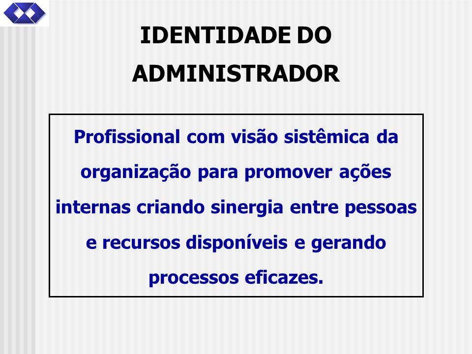 IDENTIDADE DO ADMINISTRADOR Profissional com visão sistêmica da organização para promover ações internas criando sinergia entre pessoas e recursos dis
