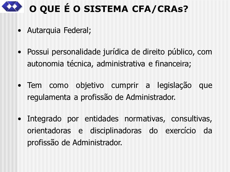 O QUE É O SISTEMA CFA/CRAs? Autarquia Federal; Possui personalidade jurídica de direito público, com autonomia técnica, administrativa e financeira; T