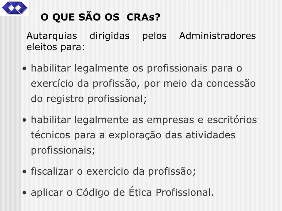 O QUE SÃO OS CRAs? habilitar legalmente os profissionais para o exercício da profissão, por meio da concessão do registro profissional; habilitar lega