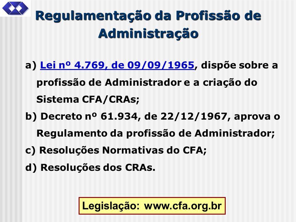 Regulamentação da Profissão de Administração a) Lei nº 4.769, de 09/09/1965, dispõe sobre a profissão de Administrador e a criação do Sistema CFA/CRAs