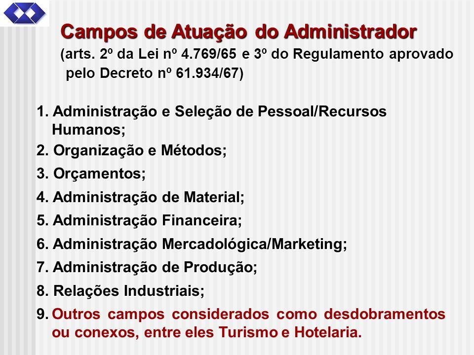 Campos de Atuação do Administrador (arts. 2º da Lei nº 4.769/65 e 3º do Regulamento aprovado pelo Decreto nº 61.934/67) 1. Administração e Seleção de