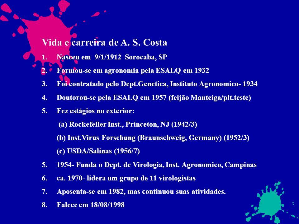 Vida e carreira de A. S. Costa 1.Nasceu em 9/1/1912 Sorocaba, SP 2.Formou-se em agronomia pela ESALQ em 1932 3.Foi contratado pelo Dept.Genetica, Inst