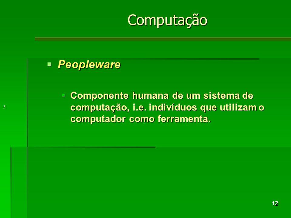 12 Peopleware Peopleware Componente humana de um sistema de computação, i.e.