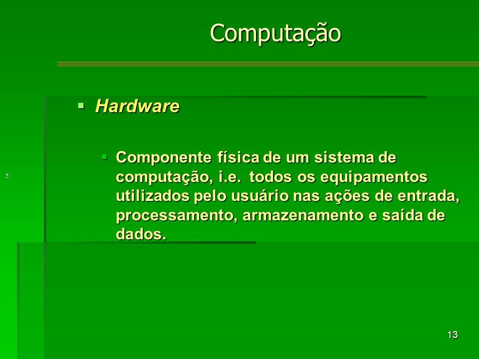 13 Hardware Hardware Componente física de um sistema de computação, i.e.