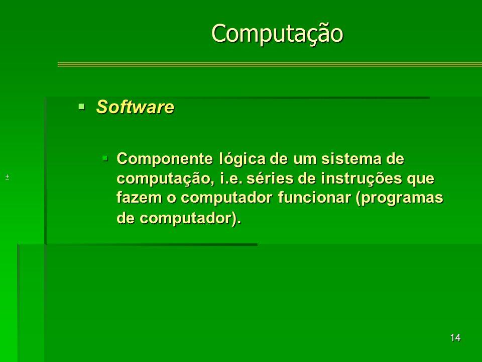 14 Software Software Componente lógica de um sistema de computação, i.e.