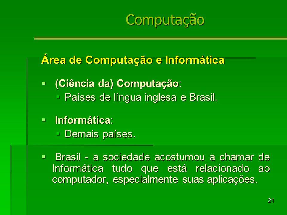 21 Área de Computação e Informática (Ciência da) Computação: (Ciência da) Computação: Países de língua inglesa e Brasil.