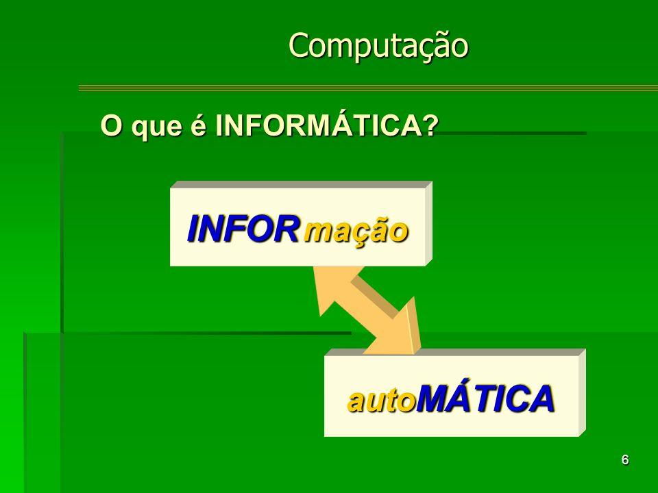6 auto MÁTICA INFOR mação Computação O que é INFORMÁTICA?
