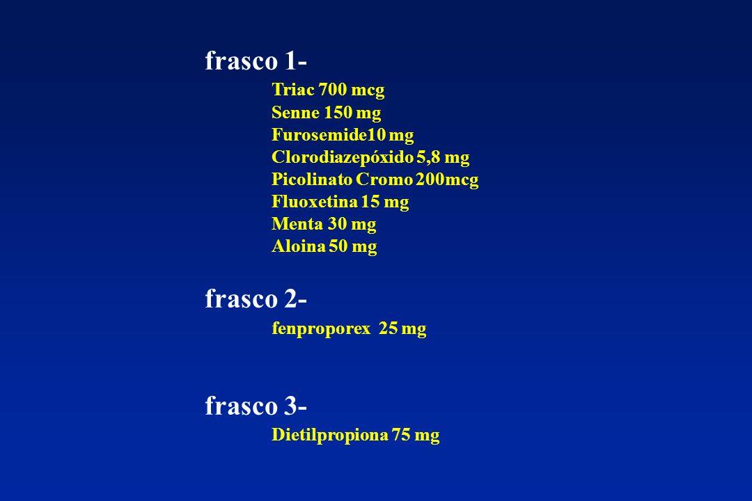 frasco 1- Triac 700 mcg Senne 150 mg Furosemide10 mg Clorodiazepóxido 5,8 mg Picolinato Cromo 200mcg Fluoxetina 15 mg Menta 30 mg Aloina 50 mg frasco 2- fenproporex 25 mg frasco 3- Dietilpropiona 75 mg