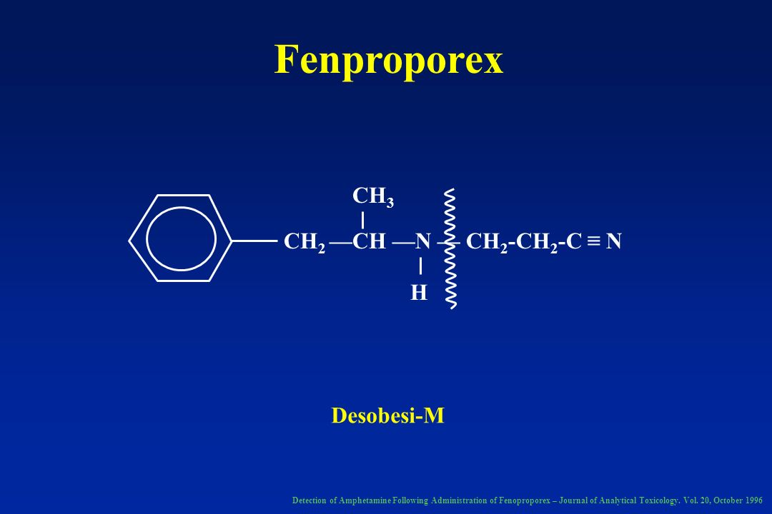 Fenproporex CH 2 CH N CH 2 -CH 2 -C N CH 3 H Detection of Amphetamine Following Administration of Fenoproporex – Journal of Analytical Toxicology. Vol
