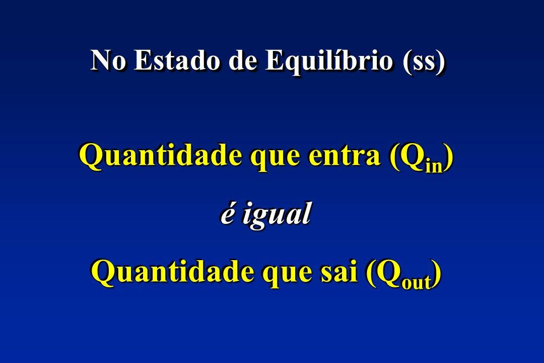No Estado de Equilíbrio (ss) Quantidade que entra (Q in ) é igual Quantidade que sai (Q out ) Quantidade que entra (Q in ) é igual Quantidade que sai