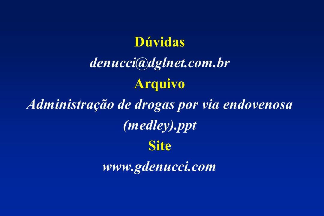 Dúvidas denucci@dglnet.com.br Arquivo Administração de drogas por via endovenosa (medley).ppt Site www.gdenucci.com