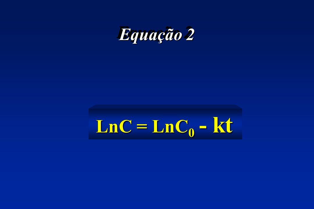 Equação 2 LnC = LnC 0 - kt LnC = LnC 0 - kt