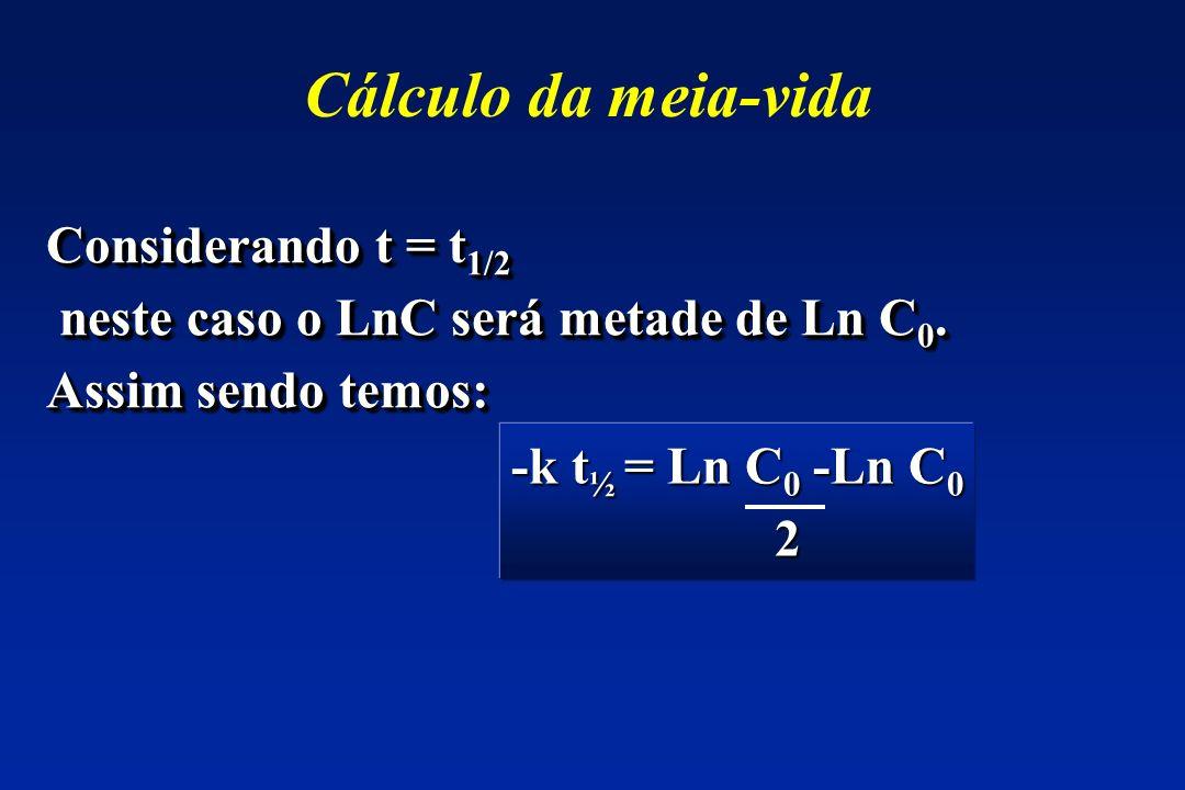 Cálculo da meia-vida Considerando t = t 1/2 neste caso o LnC será metade de Ln C 0. neste caso o LnC será metade de Ln C 0. Assim sendo temos: Conside