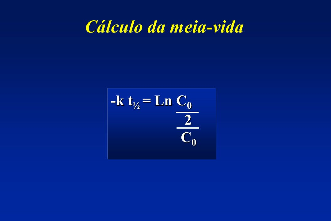 Cálculo da meia-vida -k t ½ = Ln C 0 2 C 0 C 0