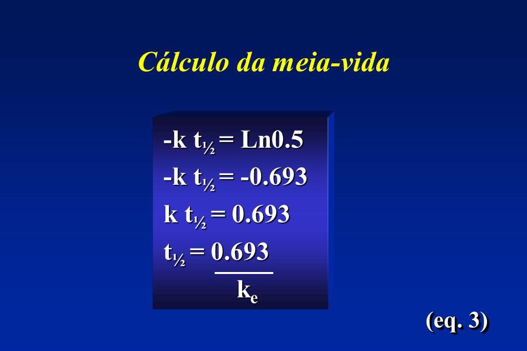 Cálculo da meia-vida -k t ½ = Ln0.5 -k t ½ = Ln0.5 -k t ½ = -0.693 -k t ½ = -0.693 k t ½ = 0.693 k t ½ = 0.693 t ½ = 0.693 t ½ = 0.693 k e k e (eq. 3)