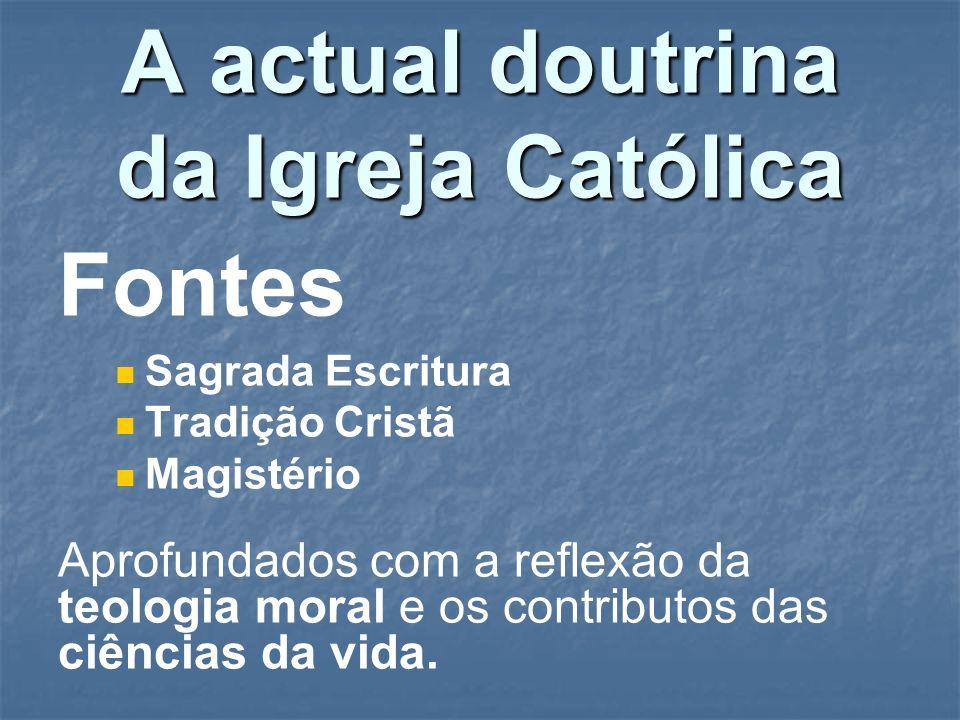 A actual doutrina da Igreja Católica Fontes Sagrada Escritura Tradição Cristã Magistério Aprofundados com a reflexão da teologia moral e os contributo