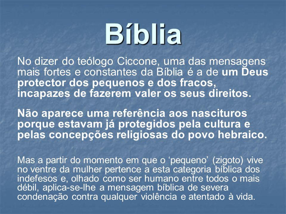 Bíblia No dizer do teólogo Ciccone, uma das mensagens mais fortes e constantes da Bíblia é a de um Deus protector dos pequenos e dos fracos, incapazes